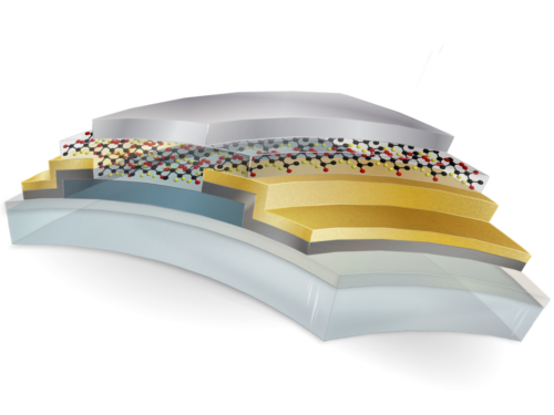 The flexible transistor rests on a polyimide substrate, and includes layers of tin oxide (dark blue) and the ferroelectric polymer P(VDF-TrFE) (red, black and yellow molecular structure).