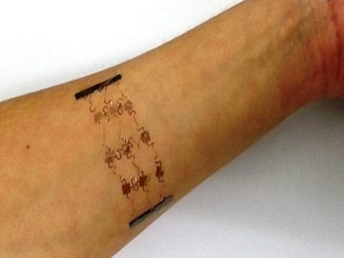 The stretchable copper circuits can be fabricated on a flexible plastic lightweight patch that can be easily attached to the skin.