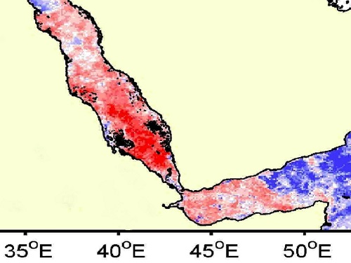 Color-coded representation of chlorophyll concentration in the Red Sea.
