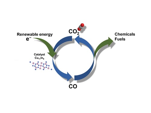 A catalyst made from an alloy of copper and indium increases the efficiency and selectivity of the process of converting carbon dioxide into carbon monoxide.