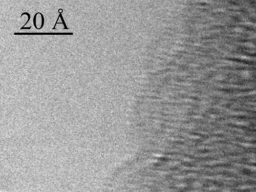 A HRTEM phase-contrast image of a single A-DNA helix bound to a 100 Å DNA bundle.