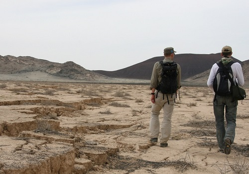 KAUST researchers at the site of the volcanic unrest in Harrat Lunayyir, Saudi Arabia. The team believes that fracturing and subsidence on the surface caused by magmatic activity below actually prevented a volcanic eruption taking place in 2009.