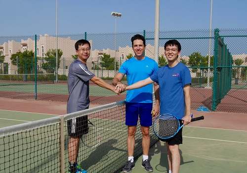 A tennis match between the researchers provided the perfect forum to discuss some new ideas about microspheres.