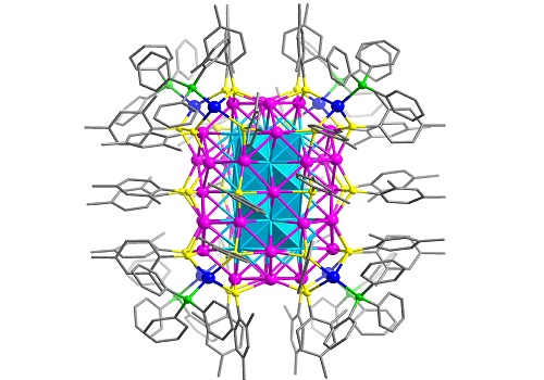 The total structure of the nanocluster with the location of silver atoms depicted in blue, magenta, and cyan (with sulfur in yellow, phosphorus in green, carbon in grey and with hydrogen atoms omitted for simplicity)