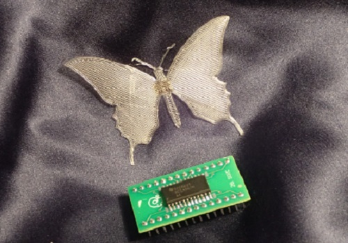 "Pressure-sensitive ""e-stickers"" contain all the functionality of traditional silicon circuits but can be fabricated into complex, flexible shapes such as butterflies."
