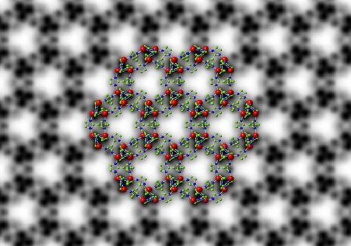 Symmetry-imposed and lattice-averaged HRTEM image of the metal–organic framework ZIF-8 (black and white) with a structural model overlaid to show the position of the zinc ions and organic ligands (in color).
