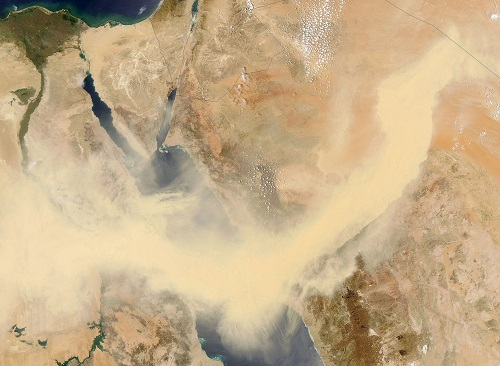 A Red Sea sandstorm in 2005. Better prediction of extreme events, like natural disasters, such as sandstorms, could help mitigate and plan for their impact.