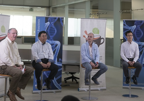 KAUST researchers discuss how they look for clues to major health questions by sifting through vast datasets.  (L-R) Jim Calvin, Takashi Gojobori, Robert Hoehndorf and Xin Gao.