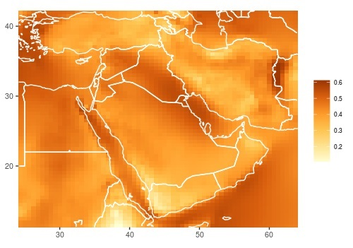 Color-coded map of the Middle East region to show areas with greatest high-altitude wind-energy potential.
