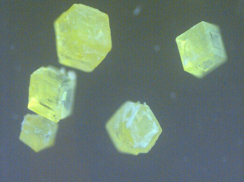 The perovskite has a strong green fluorescence.
