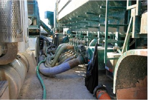 To generate sand slurry requires a low-pressure manifold to mix water and polymers with sand.