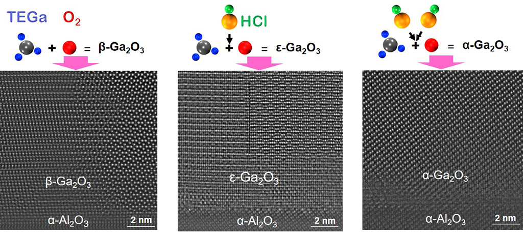 Different polymorphs of gallium oxide can be grown in a MOCVD chamber by controlling the flow of hydrogen chloride.