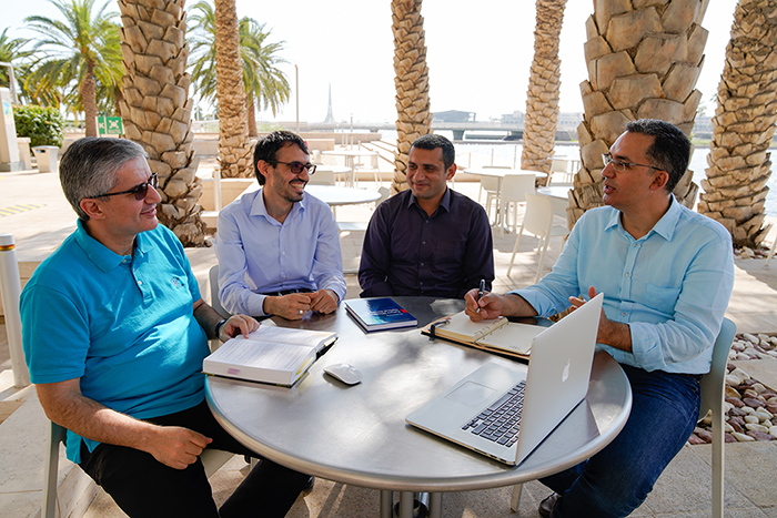 From left to right: Prof. Slim Alouini, Abdulkadir Celik, Nasir Saeed and Assoc. Prof. Tareq Al-Naffouri.