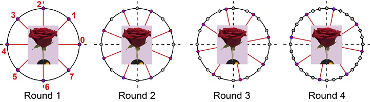 A 360-degree scan is completed using each round offset to enhance information capture.
