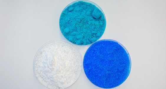 Three common salts—(L-R) magnesium sulfate, copper chloride and copper sulfate—were effective in capturing water from air with relative humidity as low as 15 percent.