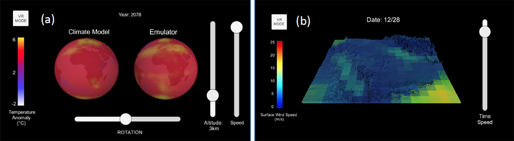 A snapshot of two apps developed to visualize and compare climate model output and output from a statistical model (emulator). The statistical emulator app reproduces annual three-dimensional temperature from 1850 to 2100 (a) and reproduces daily winds over the Arabian peninsula from 1920 to 2100 (b).