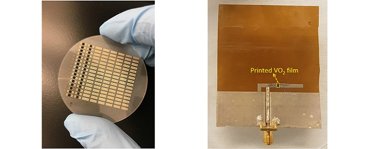 The researchers obtained two thermally and electrically responsive switch configurations on a sapphire surface (left) as well as a tunable antenna operating in two different frequency ranges (right) © 2018 Wiley-VCH