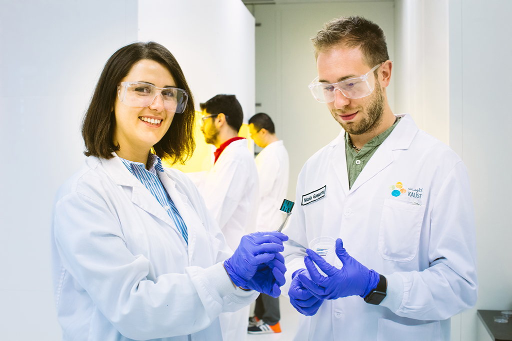Derya Baran (left) and Nicola Gasparini are part of a team that has developed a photovoltaic organic material that captures light efficiently and that could be coated on building materials.