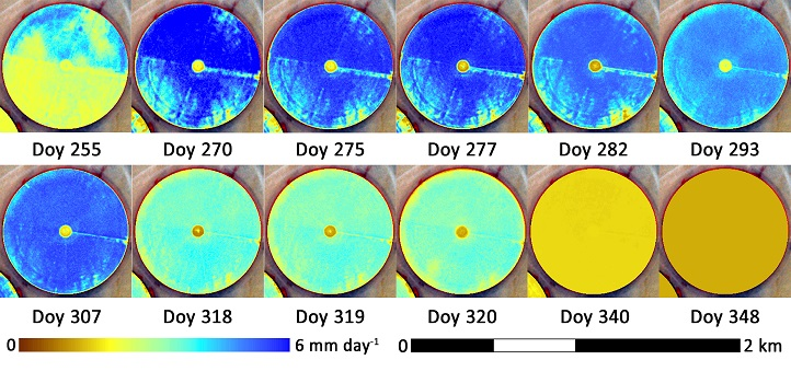Crop development and water use for a specific maize pivot.  The CubeSat imagery enables observation of the differences within the field for different planting dates for the upper and lower portions of the field.