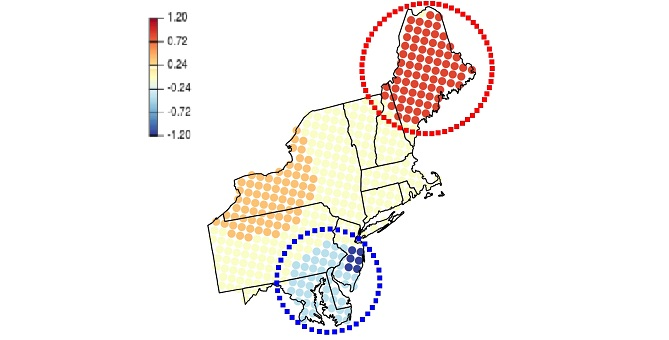 "This map shows how the mixed effect model breaks the northeastern U.S. into blocks, allowing them to identify ""hotspots."""