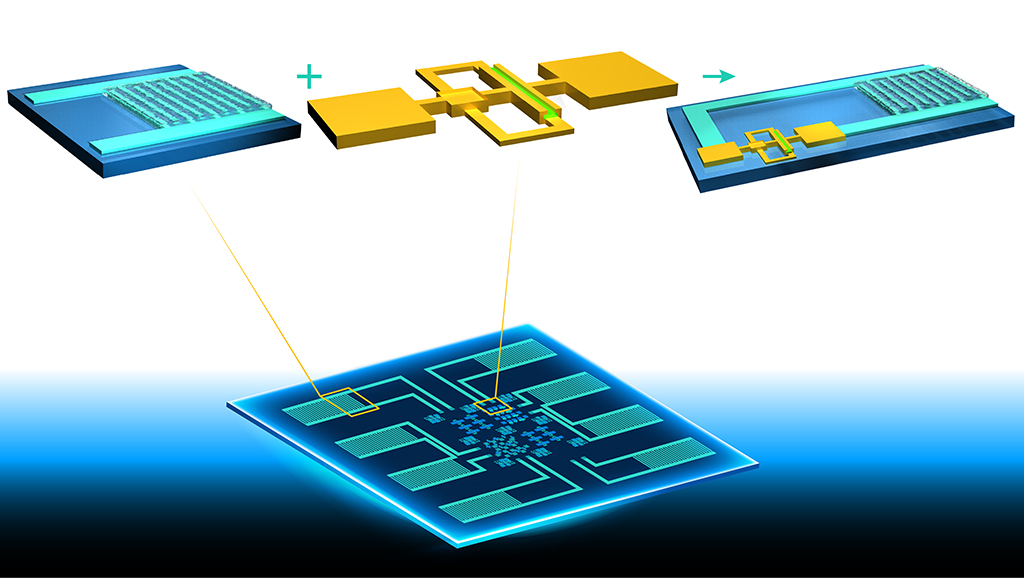 A schematic illustration of the integrated circuit fabricated on a one-inch glass substrate. The chip combines electronics and on-chip energy-storage units.