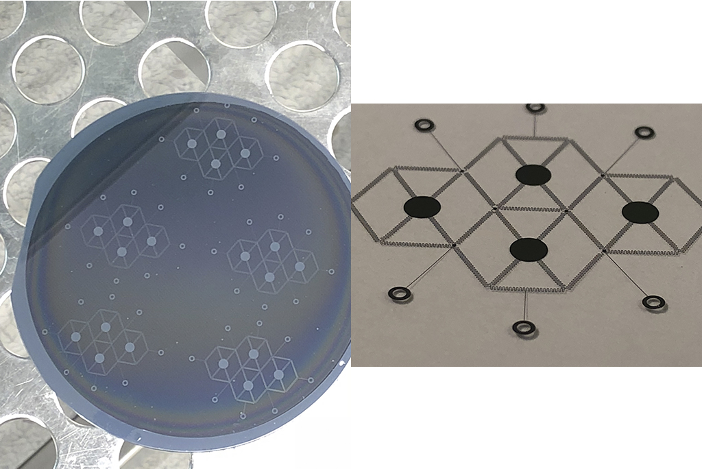 The macrosized, honeycomb-serpentine, reconfigurable platform patterned on a silicon wafer before (left) and after the hydrofluoric acid release step (right).