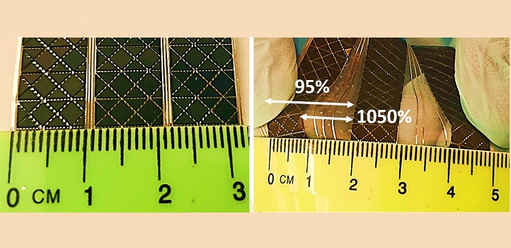 The triangular pattern proved to be the most stretchy design.
