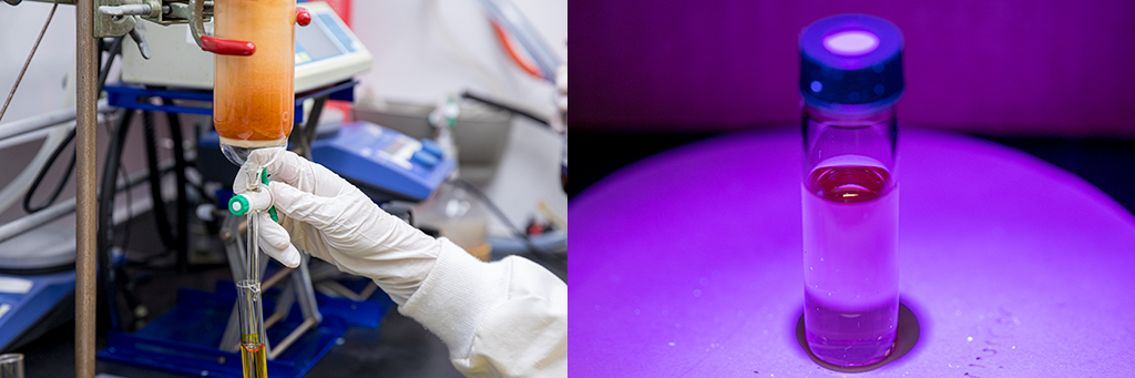 Laila Khalil collects the purified ligand (left). The nanocluster solution is treated with a surfactant and UV light to induce a 2,000-fold increase in luminescence.