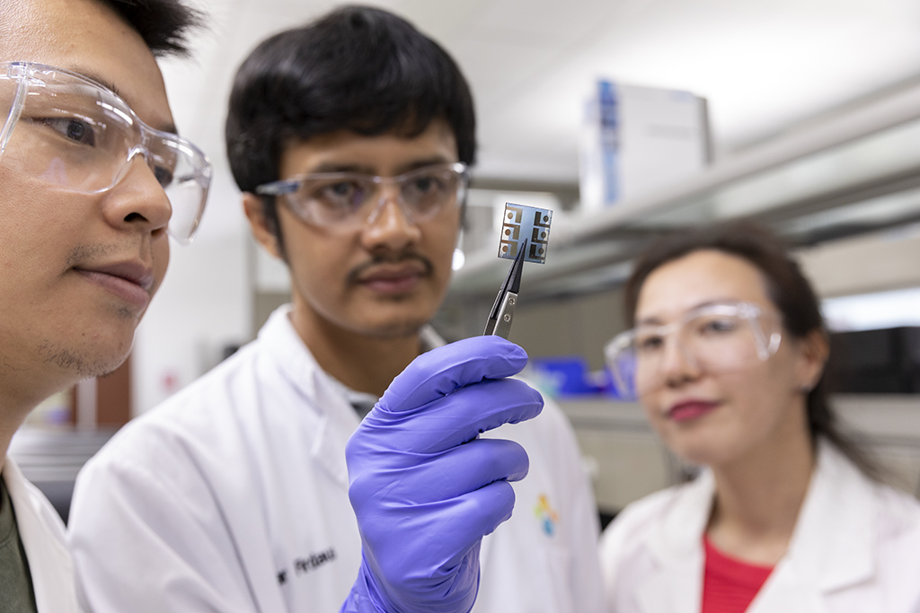Co-authors (l-r) Yuanbo Lin, Yuliar Firdaus and Begimai Adilbekova examine their high-efficiency organic solar cell.