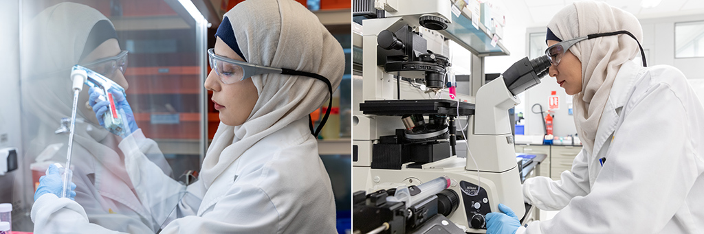 First author of the study, Fajr Aleisa, prepares a sample of cells (left) and observes the ability of components of the E-selectin molecule to block adhesion interactions .