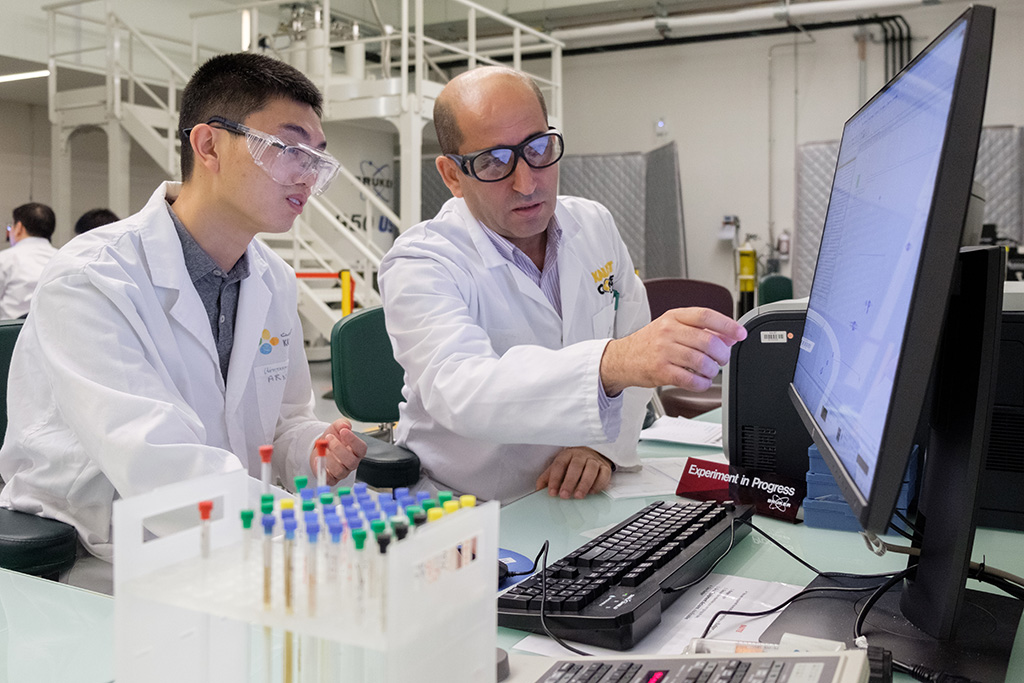 Gengwu Zhang (left) and Abdul-Hamid Emwas from the KAUST Core Labs discuss the results of the nuclear magnetic resonance experiment for the separation mechanism.