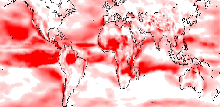 The kurtosis variation of non-Gaussian wind speed distribution, showing regions with more frequent extreme values (red).