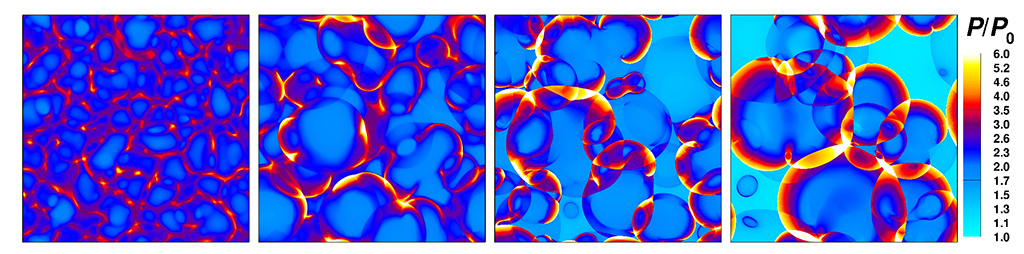 Quantitative visualization of pressure contours to depict different knock intensities (l-r): normal autoignition process, mild-knock and super-knock.