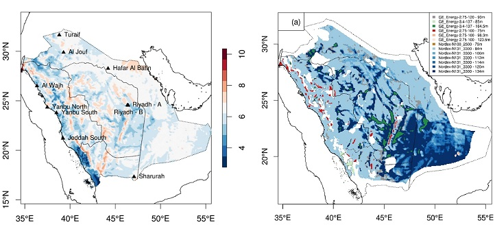 Four-year average wind speed (left) and optimal wind turbine technology (right) for Saudi Arabia.