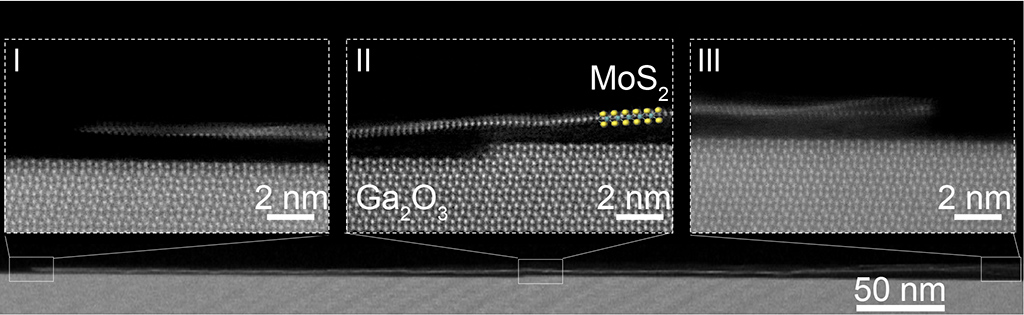 This cross-section view shows the long and monolayer MoS2 nanoribbon on top of the ledge of Ga2O3 substrate.
