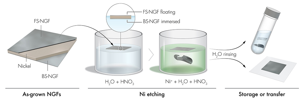 Polymer-free wet chemical transfer process for NGFs grown on Ni foil.