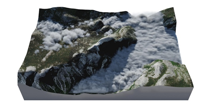The framework developed simulations of high fog around Half Dome in Yosemite National Park.