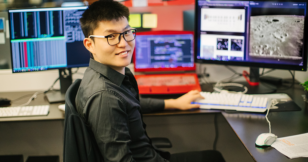Siyuan Chen (pictured above) and Professor Xin Gao used machine learning and AI to identify promising lunar areas for the exploration of precious resources, such as uranium and helium-3.